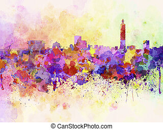 Taipei skyline in watercolor background