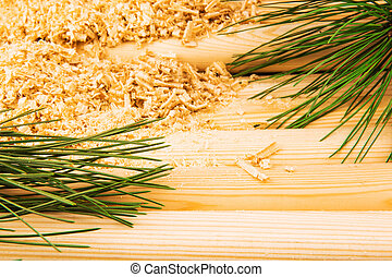 Wooden sawdust, pine branches and logs - Macro view of...