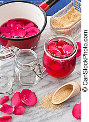 Homemade rose jelly - Pink jelly homemade from rose petals...