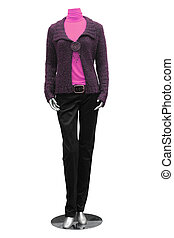 jacket, blouse, trousers on mannequin isolated on white