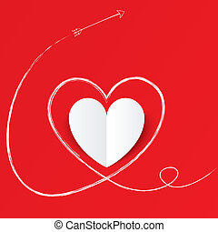 White paper heart with arrow path. Valentines day. - White...