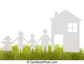Home and family from a paper cut on the grass isolated on...