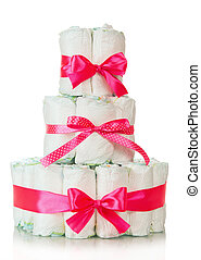 Cake of diapers decorated red ribbons - Cake of diapers...
