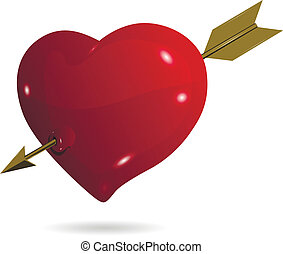 Heart With Arrow - illustration symbolic red heart on a...