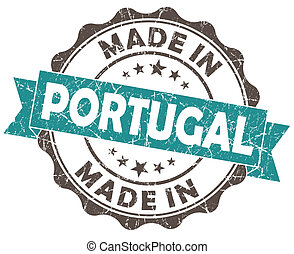 made in portugal turquoise grunge seal isolated on white background