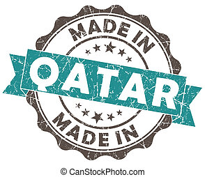 made in qatar turquoise grunge seal isolated on white background