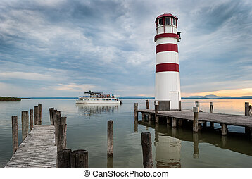 lighthouse at Lake Neusiedl at sunset - Podersdorf,...