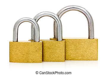 Three padlocks of different size in a row