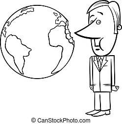 business concept cartoon illustration - Black and White...