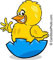 pollo, Pascua, caricatura, Ilustración