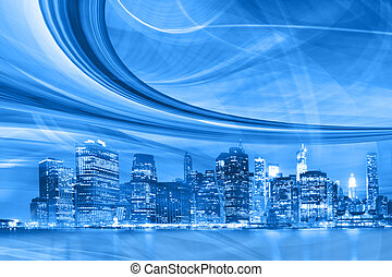 Abstract Illustration of an urban highway going to the modern city downtown, speed motion with blue  light trails.
