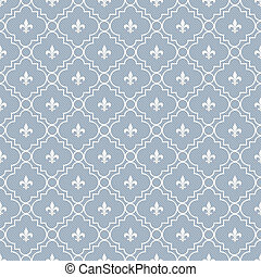 White and Pale Blue Fleur-De-Lis Pattern Textured Fabric...