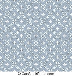 White and Pale Blue Fleur-De-Lis Pattern Textured Fabric...