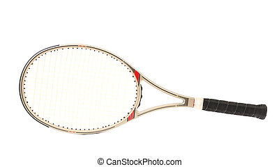 Gray tennis racket. Isolated on a white background.
