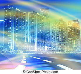 Abstract background illustration of fast traffic motion in a...