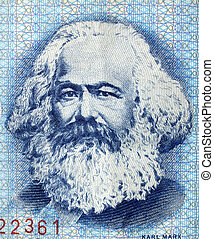 Karl Marx - Portrait of Karl Marx on an East German banknote...