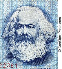 Karl Marx - Portrait of Karl Marx on an East German banknote...