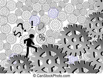 Cartoon Businessman walking wheel - Cartoon Business man...