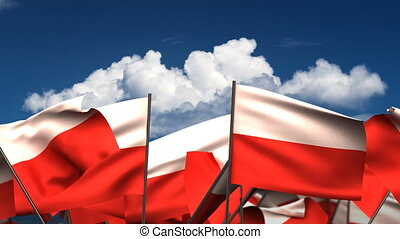 Waving Polish Flags seamless alpha channel