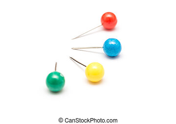 Colored Push Pins Isolated On White Background