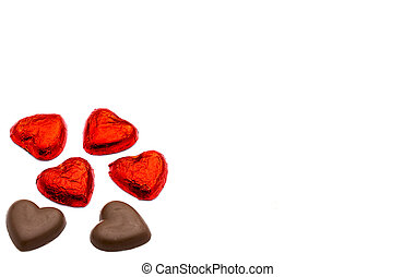 Heart-shaped chocolate for love/Valentines day concept