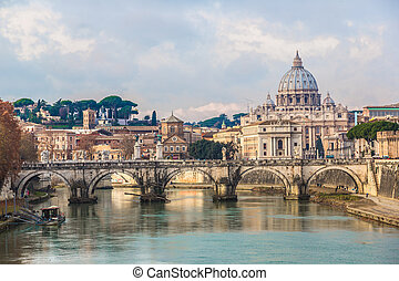 View of the Vatican with Saint Peters Basilica and...