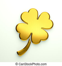 3D Illustration Golden Clover with four leaves