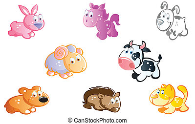 farm animals in the garden - farm animals cartoon in the...