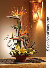 fresco, flores, arreglo