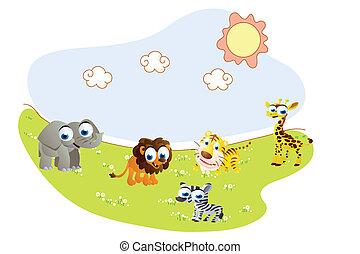 djuren, tecknad film,  Safari