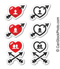 Hearts with arrow, love, valentines - Vector labels set of...