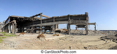 Factory in ruins - The remnants of an old, ruined steel mill