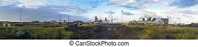 Steelworks panorama - A panorama of a steel plant, with from...