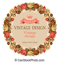 Vintage design - Vintage background with beautiful rose.