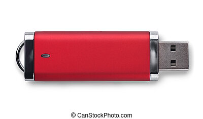 USB memory stick - Red USB memory stick isolated on white