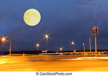 Then There Was The Full Moon - Full Moon over an empty...