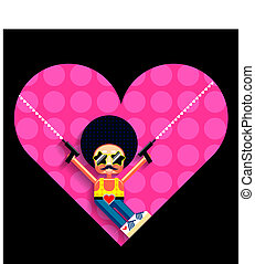 Disco cupid illustration - Cartoon disco cupid and heart....