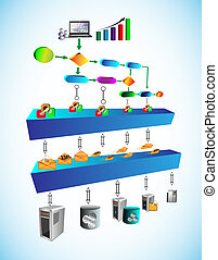 Technology Business process - Vector Illustration of Service...