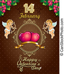Valentines Day Poster label ciocoo - Poster hearts cupid and...
