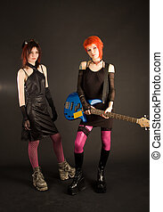 Get ready to play - Rock girls getting ready to the concert