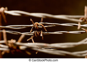 barbed wire - rusty barbed wire on the dark background