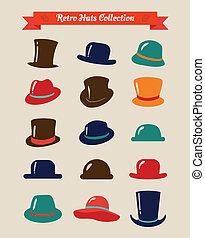 Hipster Retro Hats Vintage Icon Set, Illustartion, Colorful