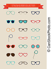 Hipster Retro Vintage Glasses Icon Set, Illustartion,...