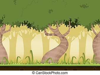 Seamless Forest Landscape - Illustration of a cartoon...