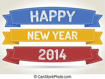 Happy new year 2014 on three different color ribbon with...