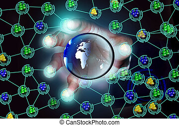 Global social network, connectivity - Virtual illustration...