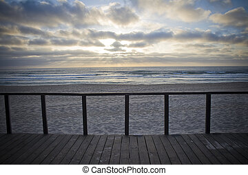 Balcony by the sunset - Wood balcony with view for the ocean...