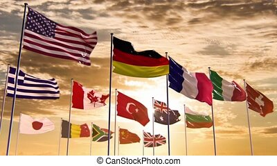Flags of different nations, HQ anim - Ready to use animation...
