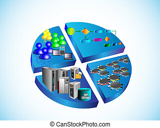 SOA and ESB technology illustration - Vector Illustration,...