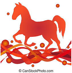 horse sihouette on abstract background
